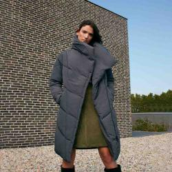 MONSOON Women's Dhalia long padded coat in recycled fabric grey