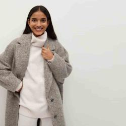 MANGO Women's Textured wool-blend coat