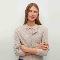MANGO Women's Openwork knit cotton cardigan