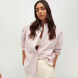 MANGO Women's Denim overshirt with puffed sleeves