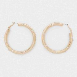 Parfois Large Hoop Earrings With Faux Pearls