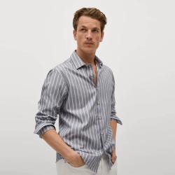 MANGO men's Regular fit striped cotton shirt