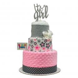 WrapIt - Its A Girl Diaper Cake - Baby Girl