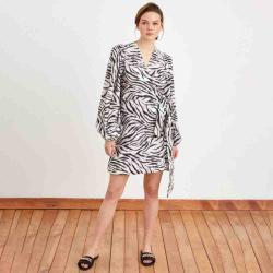 Adl Women's Zebra Patterned Patterned Double Breasted Dress