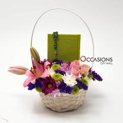 Wooden Flower Box With Green Holy Quran Teacher Gift التوصيل داخل عمان فقط