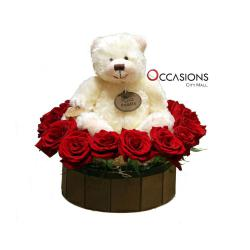 Russ Puddin White Teddy In Red Roses التوصيل داخل عمان فقط