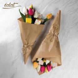 Eclat Mother's Day 6 Artificial Flowers With 6 Belgian Chocolate Wrapped With Craft Paper